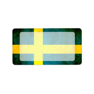 カラフルなコントラストSwedishFlag ラベル