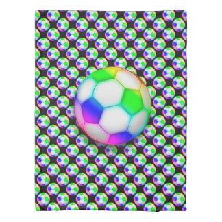 カラフルなサッカー|のフットボールのガーリーなスポーツのギフト 掛け布団カバー