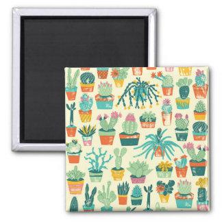 カラフルなサボテンの花模様の正方形の磁石 マグネット
