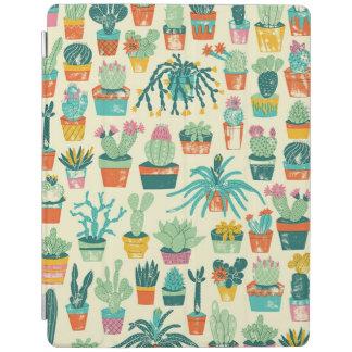 カラフルなサボテンの花模様のAppleのiPadカバー iPadスマートカバー