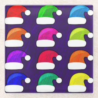 カラフルなサンタの帽子ガラスのコースター ガラスコースター