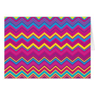 カラフルなシェブロンのジグザグパターン カード