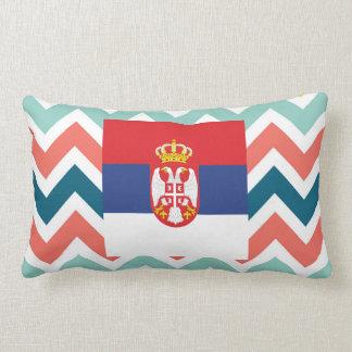 カラフルなシェブロンのセルビアの旗箱 ランバークッション