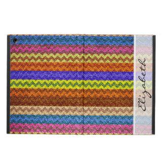 カラフルなシェブロンはカスタムなMonongram #10を縞で飾ります iPad Airケース