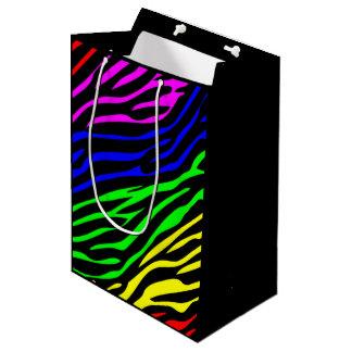 カラフルなシマウマの質 ミディアムペーパーバッグ