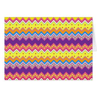 カラフルなジグザグ形のストライプなシェブロンパターン カード