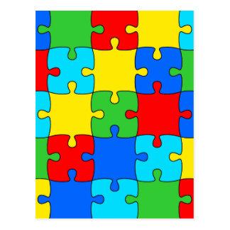 カラフルなジグソーパズルパターン ポストカード