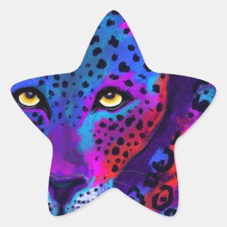 カラフルなジャガー 星シール