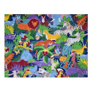 カラフルなジャングル動物 ポストカード