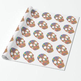 カラフルなスカルを搭載する白い包装紙 ラッピングペーパー