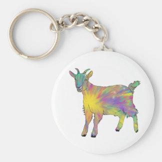カラフルなスターバストの芸術のヤギのおもしろいな動物のデザイン キーホルダー