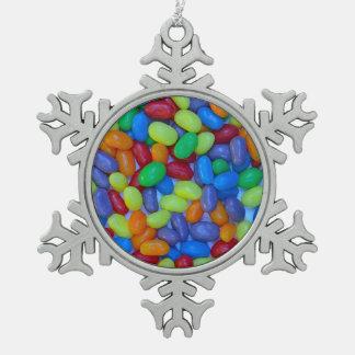 カラフルなゼリー菓子のプリント スノーフレークピューターオーナメント