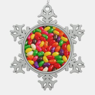カラフルなゼリー菓子キャンデーのクリスマスのオーナメント スノーフレークピューターオーナメント