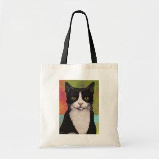 カラフルなタキシード猫 トートバッグ