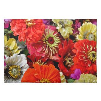 カラフルなダリアの花のプリント ランチョンマット