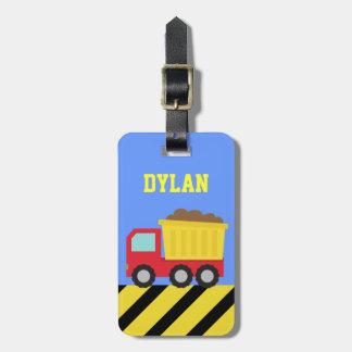 カラフルなダンプトラック、男の子のための建築車 ラゲッジタグ