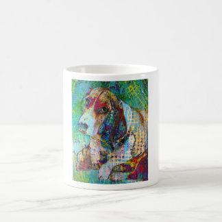 カラフルなデイジー、バセットハウンドのマグ コーヒーマグカップ
