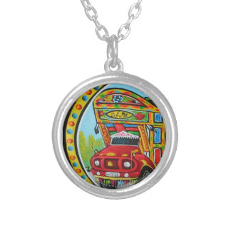 カラフルなトラックの芸術のネックレス シルバープレートネックレス