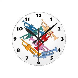 カラフルなトランペット ラウンド壁時計