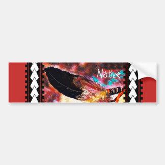 カラフルなネイティブアメリカンのワシの羽 バンパーステッカー
