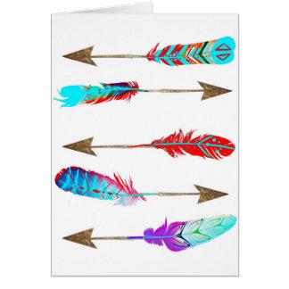 カラフルなネオン素朴なボヘミアの羽の矢 カード