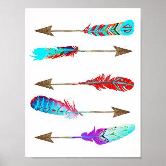 カラフルなネオン素朴なボヘミアの羽の矢 ポスター