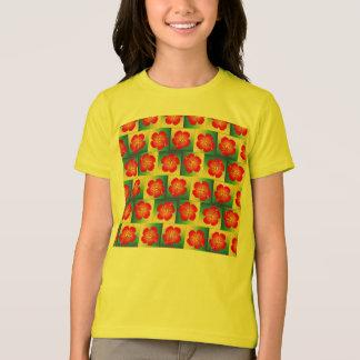 カラフルなハイビスカスの継ぎ目が無いパターン Tシャツ