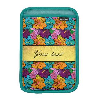 カラフルなハイビスカスの花模様 iPad MINIスリーブ