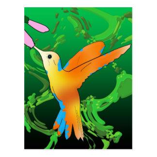 カラフルなハチドリのキス緑の背部が付いている花 ポストカード
