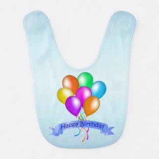 カラフルなハッピーバースデーの気球の旗のパーティー ベビービブ