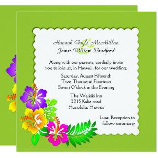 カラフルなハワイの熱帯結婚式招待状 13.3 スクエアインビテーションカード