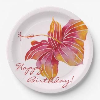 カラフルなハワイの花の誕生日の紙皿 ペーパープレート