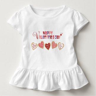 カラフルなハートのクッキーのバレンタインのひだのTシャツ トドラーTシャツ