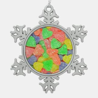 カラフルなハートの形キャンデーのクリスマスのオーナメント スノーフレークピューターオーナメント