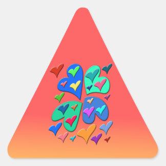 カラフルなハート 三角形シール