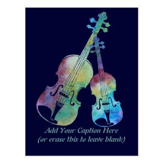 カラフルなバイオリンおよびビオラ ポストカード