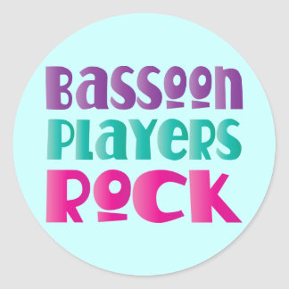 カラフルなバスーンプレーヤーのロック・ミュージックのギフト ラウンドシール
