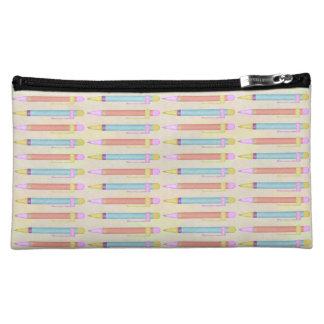 カラフルなパステル調の色彩の鮮やかなインクペンパターン コスメティックバッグ