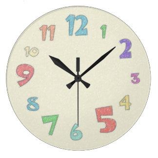 カラフルなパステル 壁時計
