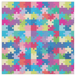 カラフルなパズルパターン自閉症の認識度 ファブリック