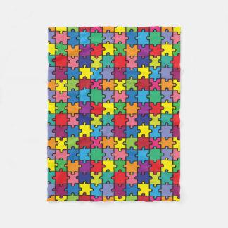 カラフルなパズルパターン自閉症の認識度 フリースブランケット