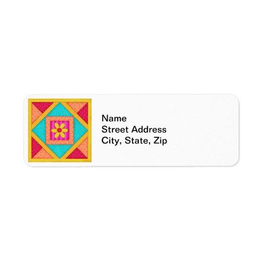 カラフルなパッチワークキルトの芸術のブロック 返信用宛名ラベル