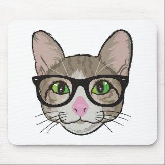 カラフルなヒップスター猫 マウスパッド