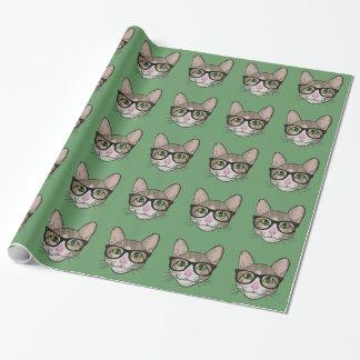 カラフルなヒップスター猫 ラッピングペーパー