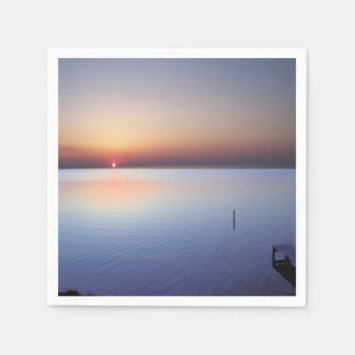 カラフルなビーチの日没 スタンダードカクテルナプキン