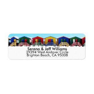 カラフルなビーチハウス小屋 ラベル