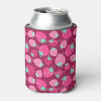 カラフルなピンクのいちごパターン 缶クーラー