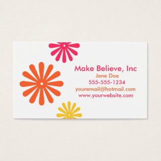 カラフルなピンクのオレンジおよび黄色の花 名刺