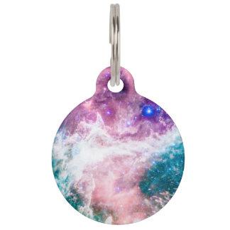 カラフルなピンクのターコイズの銀河系のモダンの星雲 ペット ネームタグ