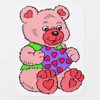 カラフルなピンクのテディー・ベア ベビー ブランケット